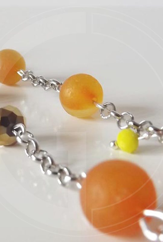 Długi naszyjnik z pomarańczowego agatu